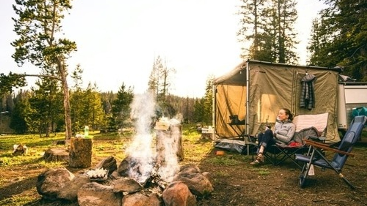 Campground with a fire