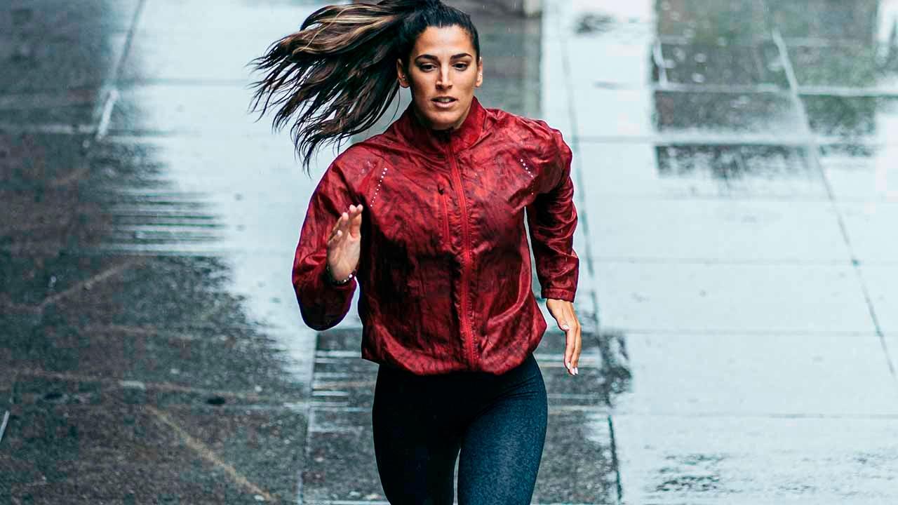 woman running in rain