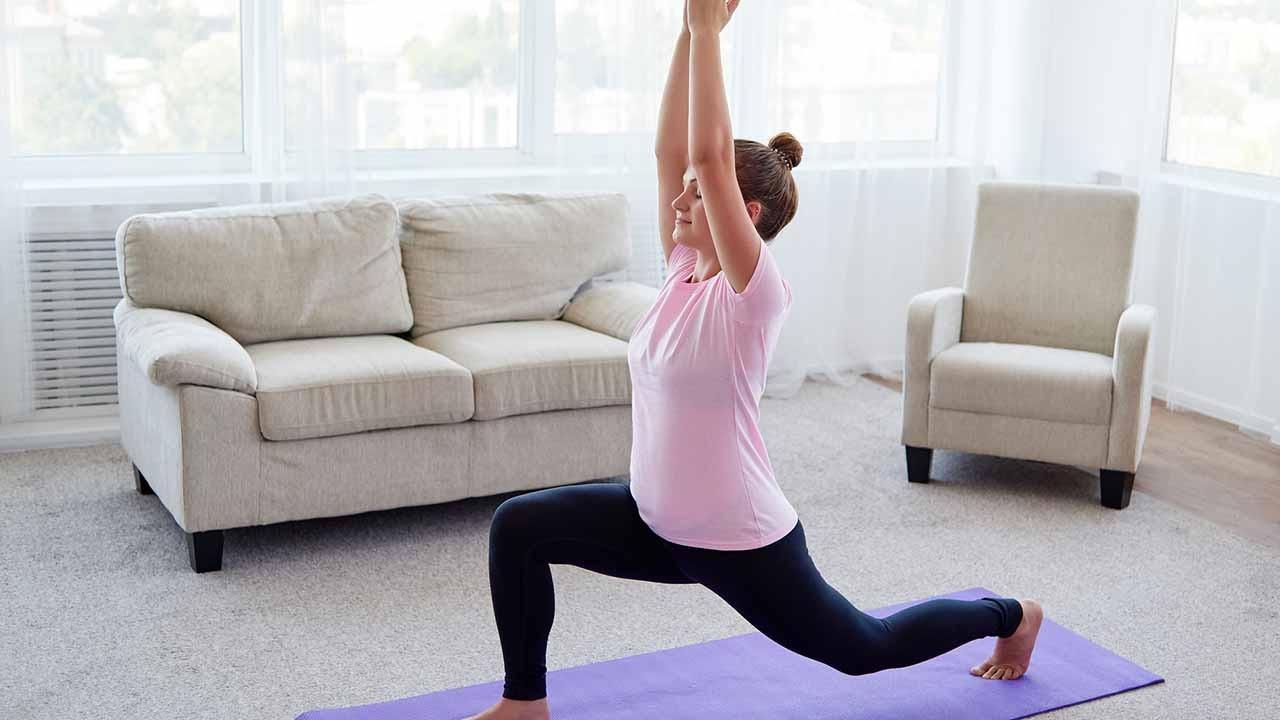 woman yoga lunge