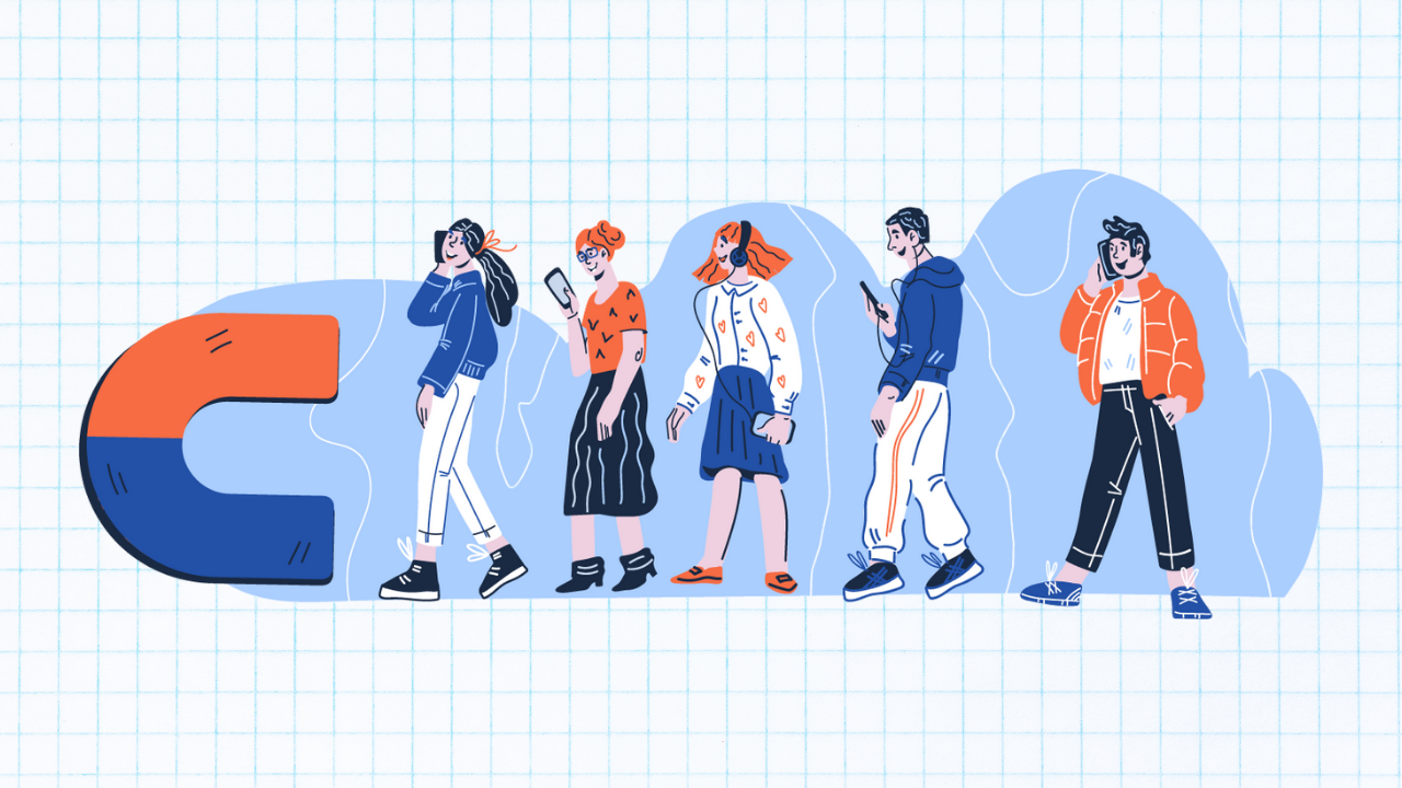 Illustration of a group of people walking walking towards a large magnet