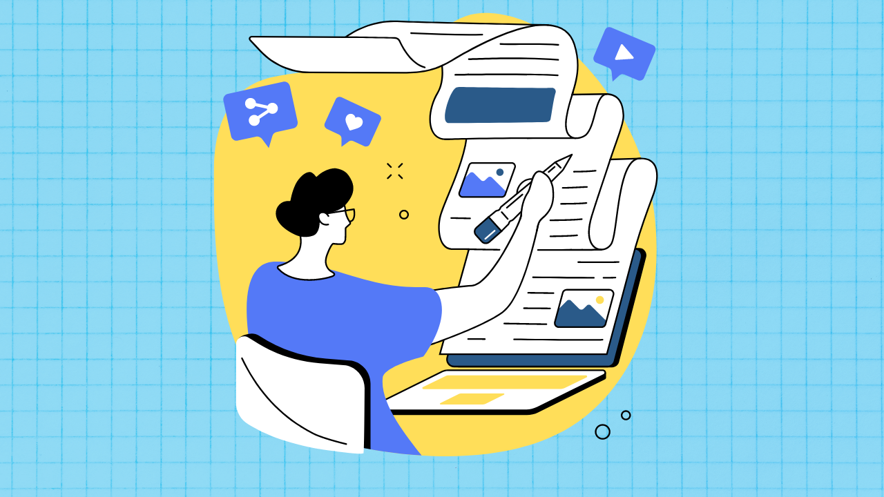 Illustration of person sitting at desk with a long scroll of content