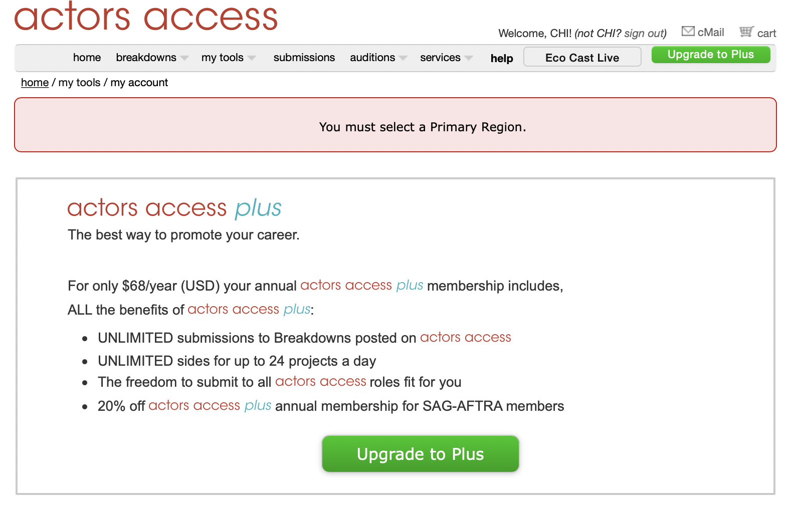 Screenshot of Actors Access account profile showing the benefits of upgrading to Actors Access Plus