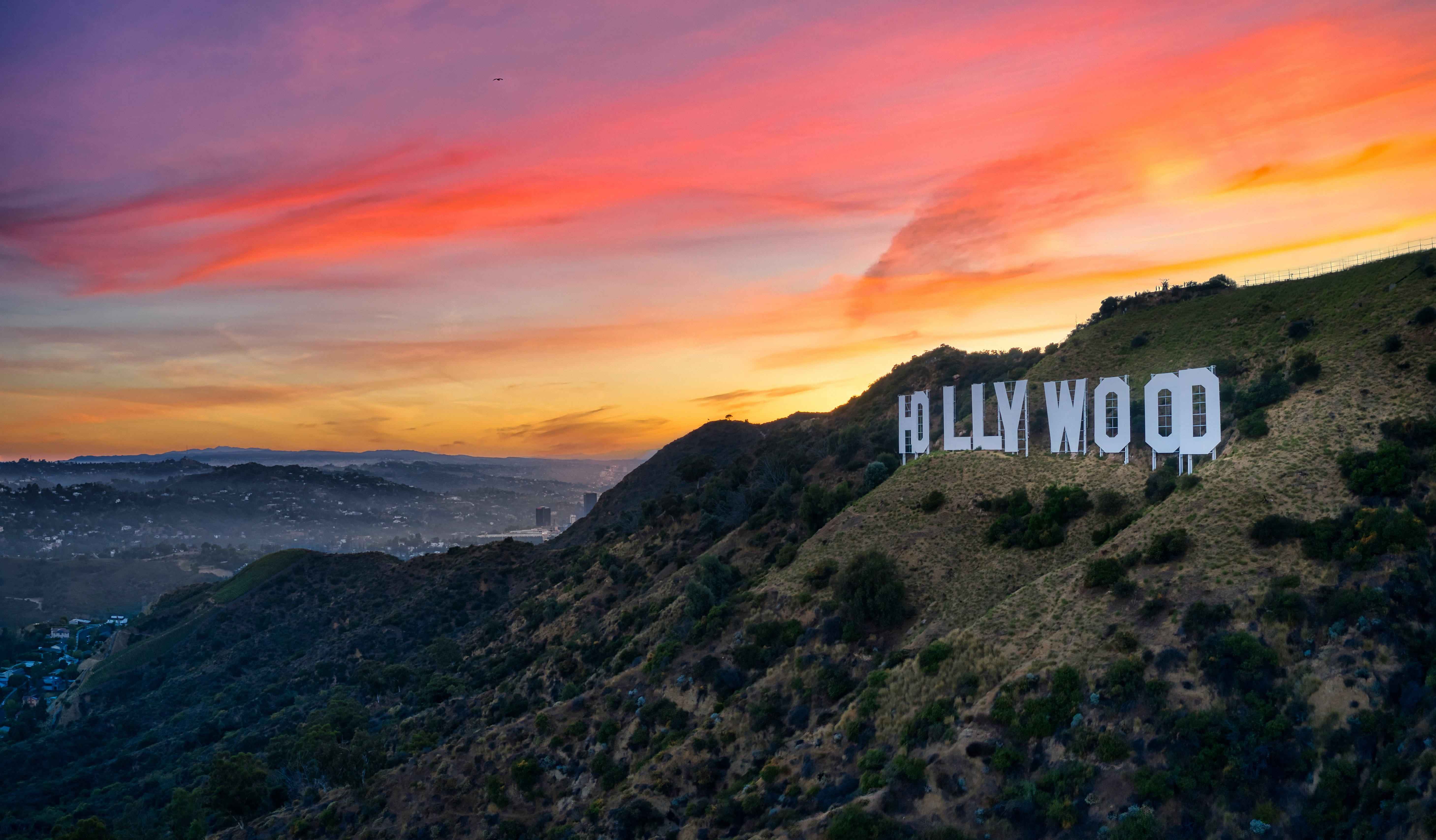 Side view of the Hollywood sign at sunset