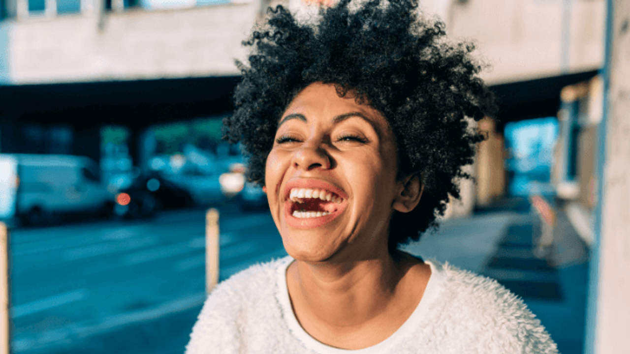 woman showing happiness
