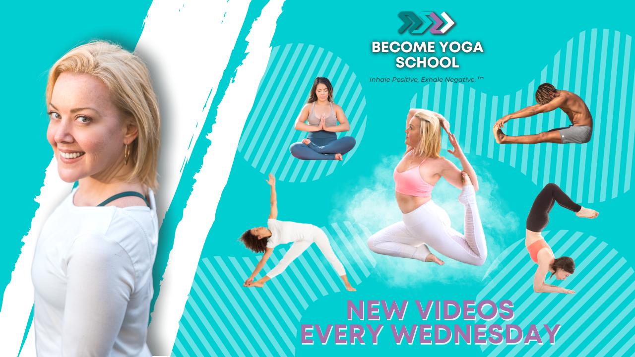 Yoga teacher sitting down crosslegs doing some yoga stretch