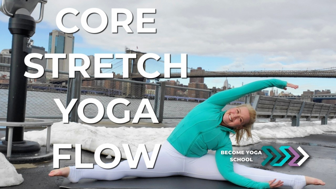 blonde yoga instructor split doing core stretch yoga flow in front of the Brooklyn Bridge