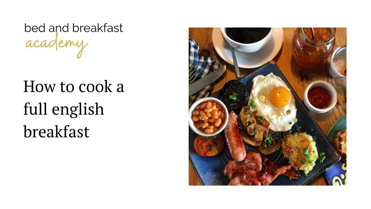 Full english breakfast on a square blue plate
