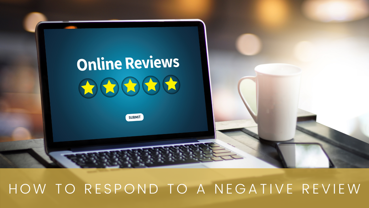 How to respond to negative reviews | open laptop with word reviews and 5 stars