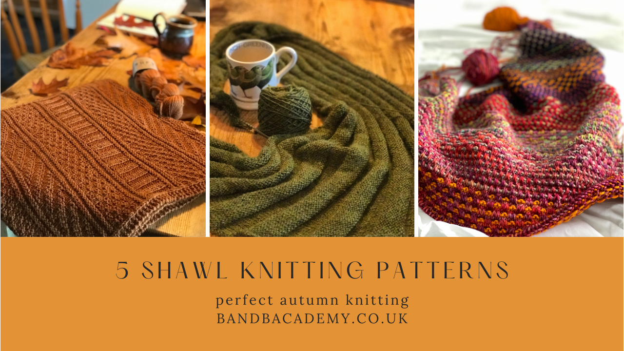 5 Shawl Knitting Patterns   3 different knitted shawls