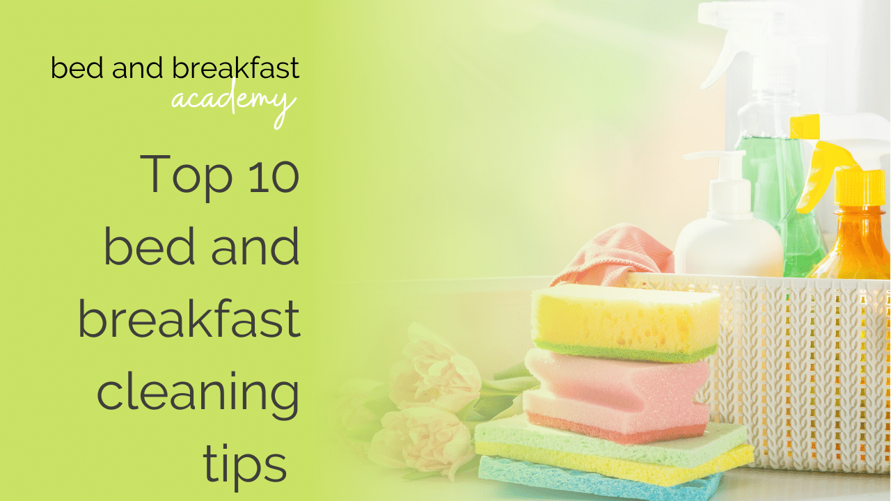 top 10 bed and breakfast cleaning tips | a pile of pastel sponges and a basket of cleaning products