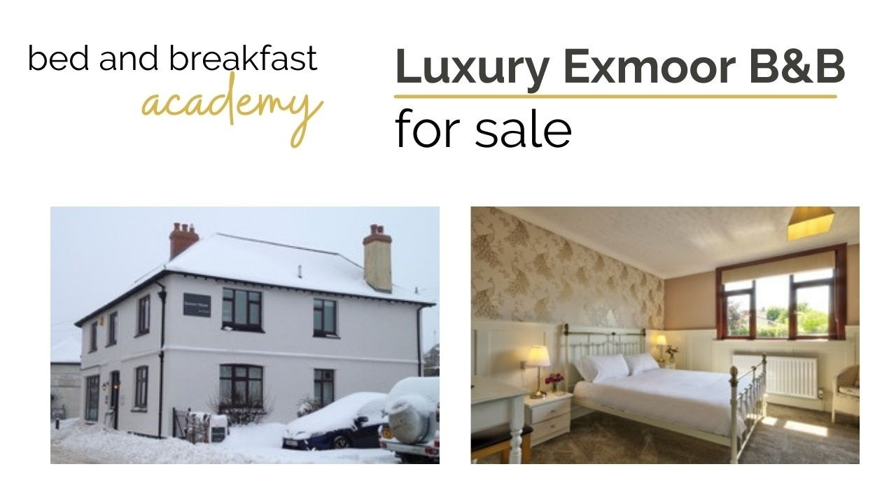 Luxury Exmoor B&B for sale - 2 image collage showing house in snow and luxury bed and breakfast room