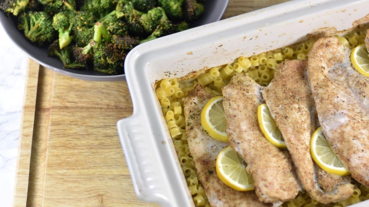 Quick and easy chicken recipe for lemon chicken with ditalini