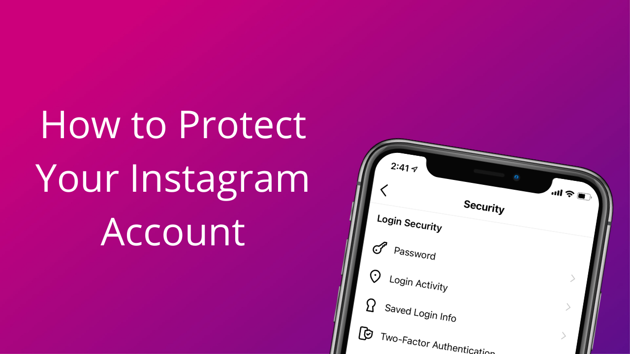 An iPhone displaying the security menu in the Instagram app
