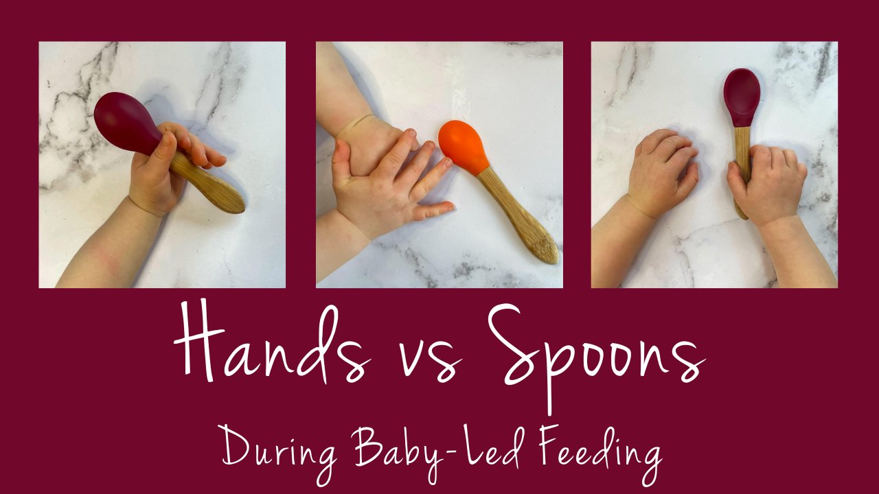 baby hands and baby spoons