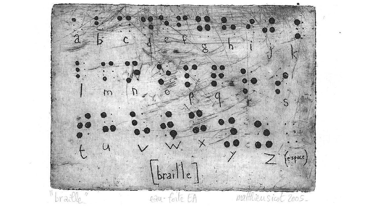 Etching of Braille dots by Matthieu Sicot from Wikimedia Commons. Used with permission.
