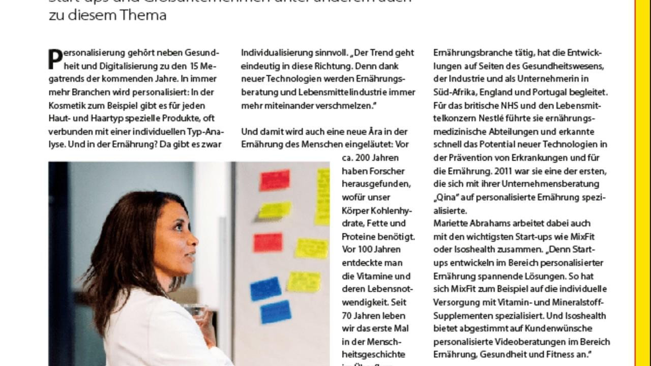 Interview on Personalised nutrition, entrepreneurship and inclusive leadership for Food forum