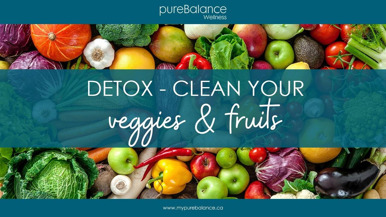 a large variety of fruits and vegetables spread out - Detox - clean your veggies & fruits