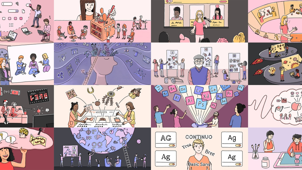 A mural of sixteen editorial illustrations created by Justin Cheong for the Adobe UX blogs