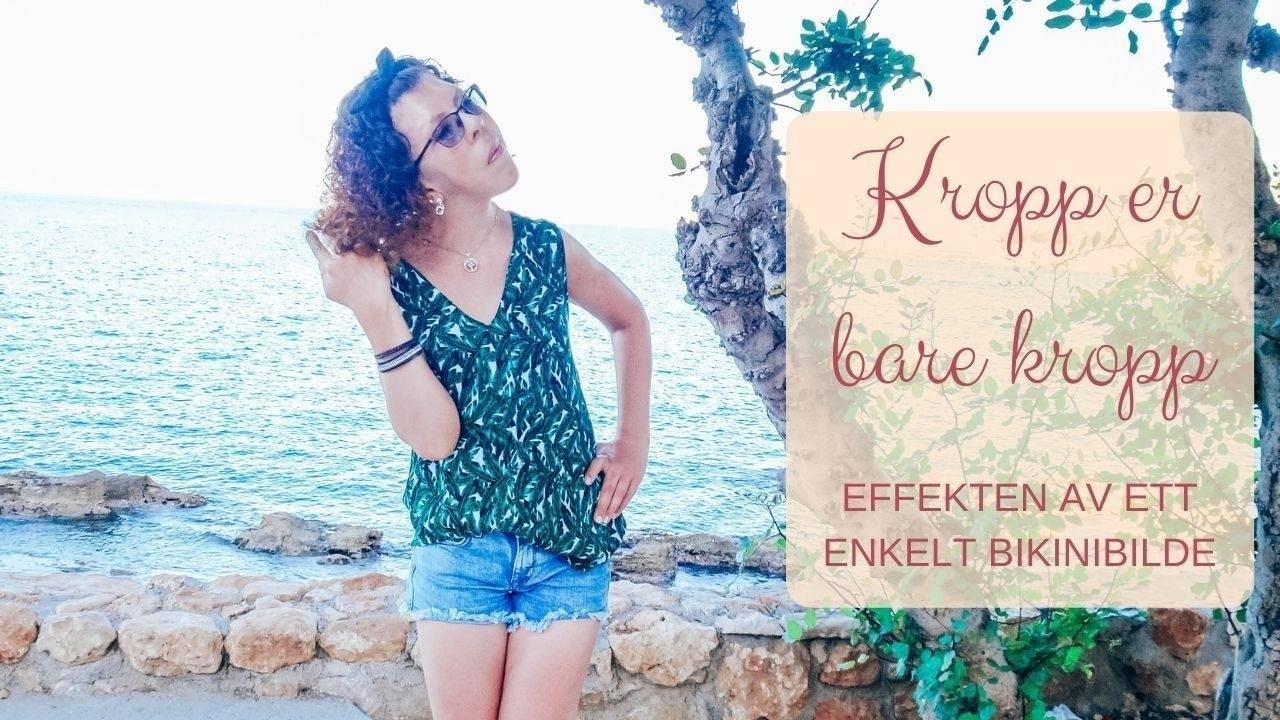 Linn Kleppa (åndelig veileder) i grønn topp og shorts. Står ved et tre ved havet i Kreta sommeren 2019.