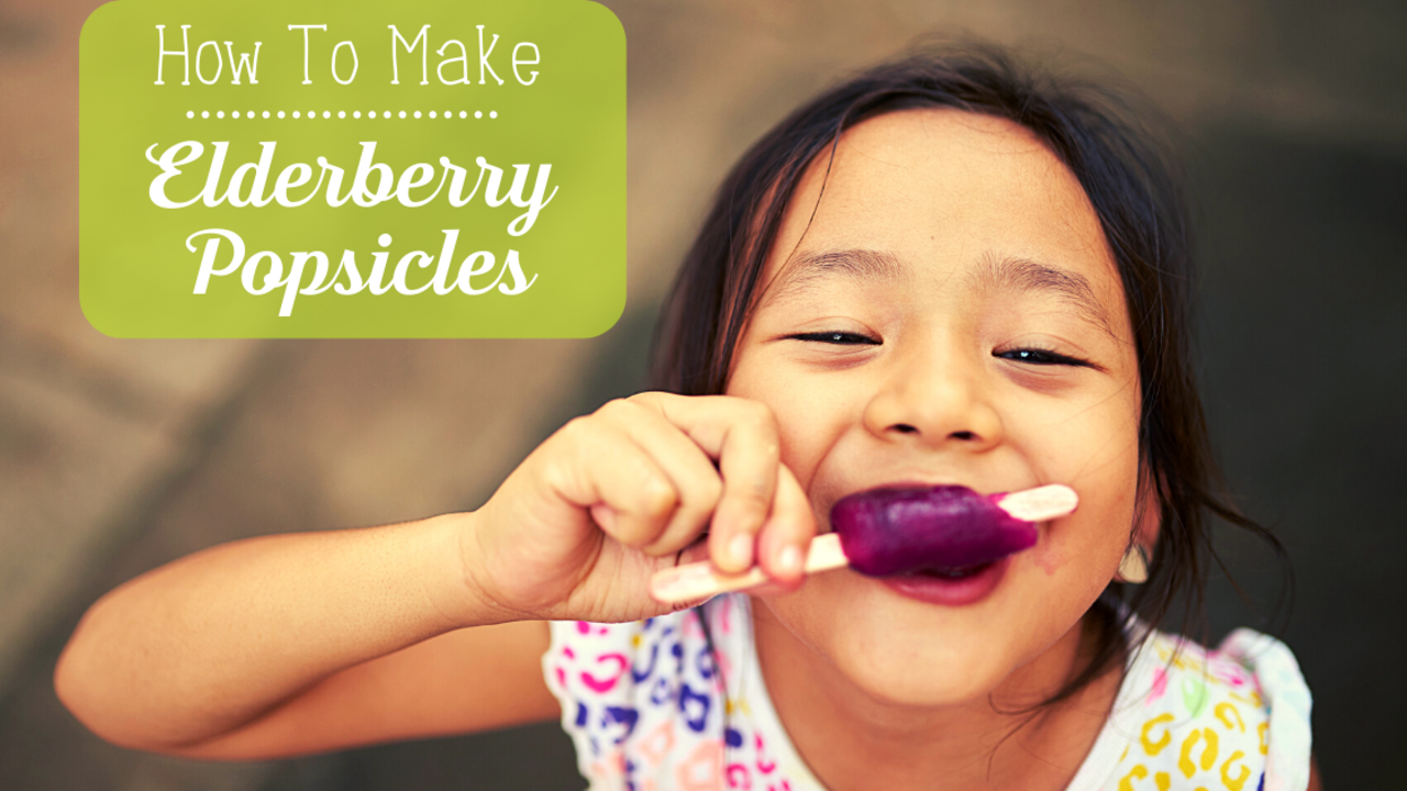 Young Girl enjoying an Elderberry Syrup Popsicle with the text 'how to make Elderberry Popsicles'