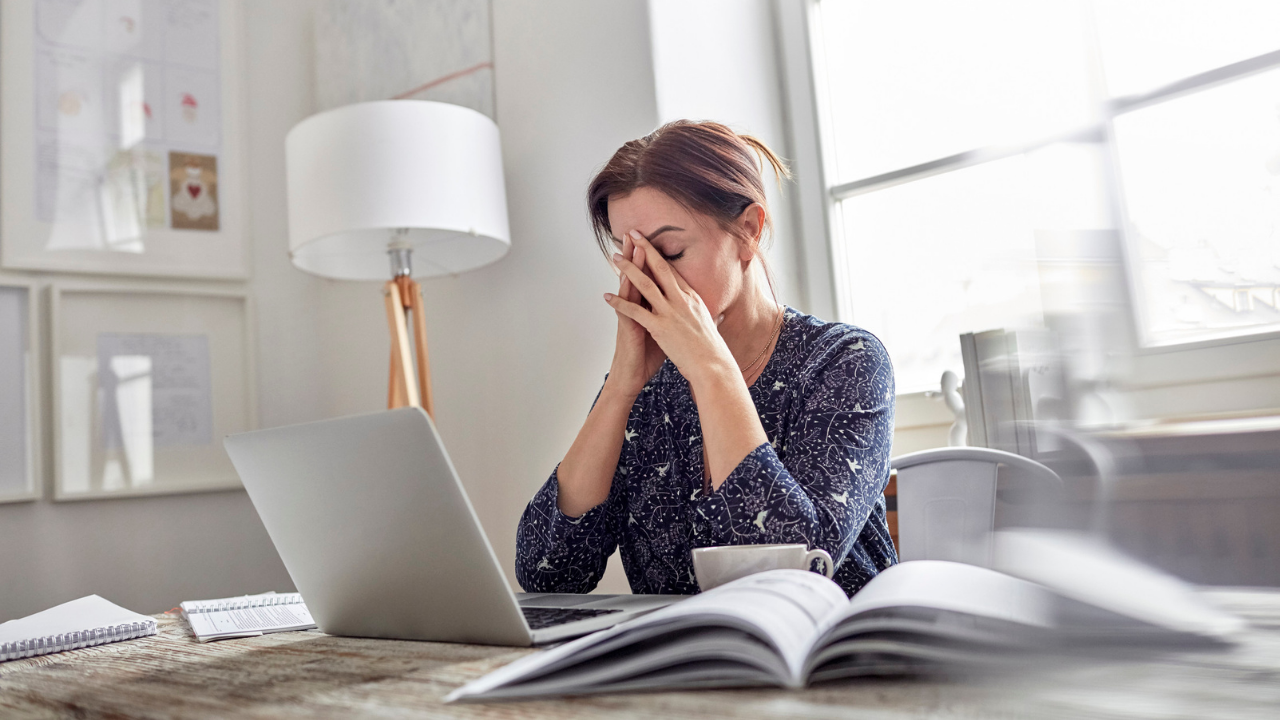 Woman Overwhelmed with Information