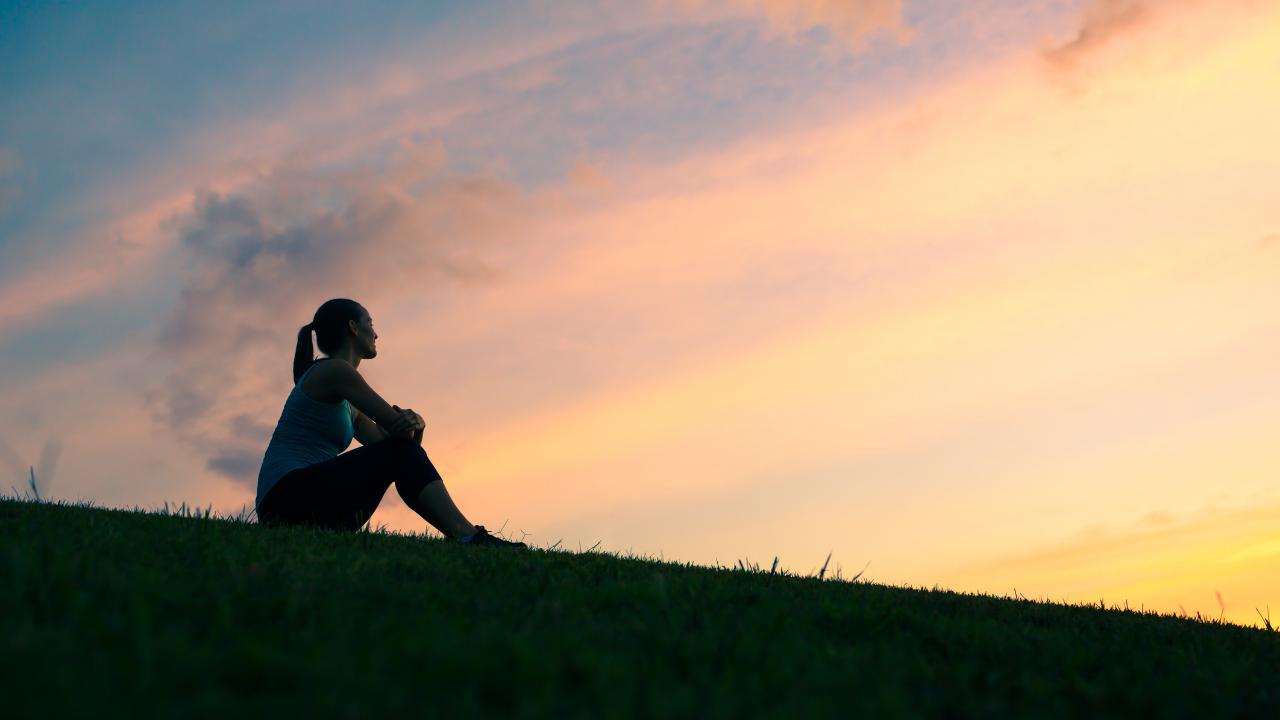 Woman Enjoying Nature, Sunrise