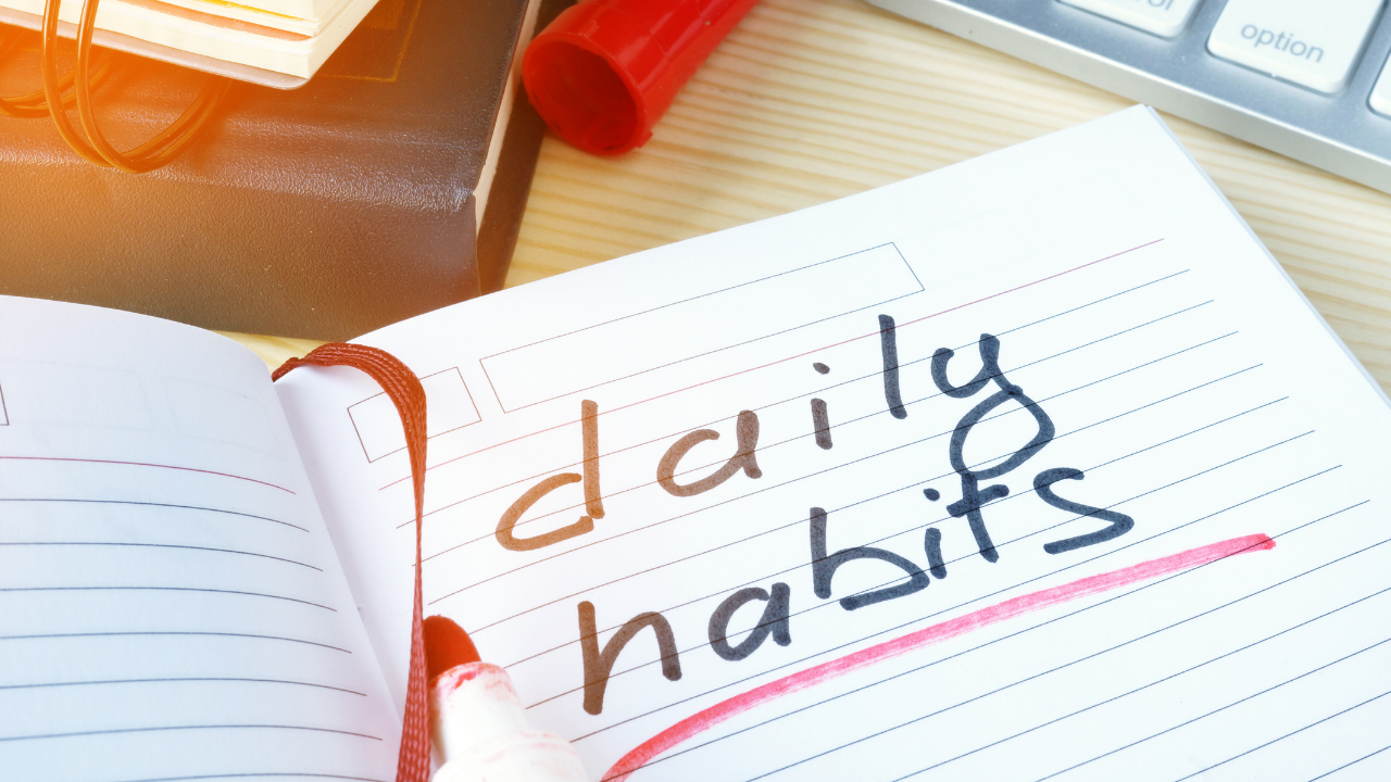 Notebook with text saying daily habits