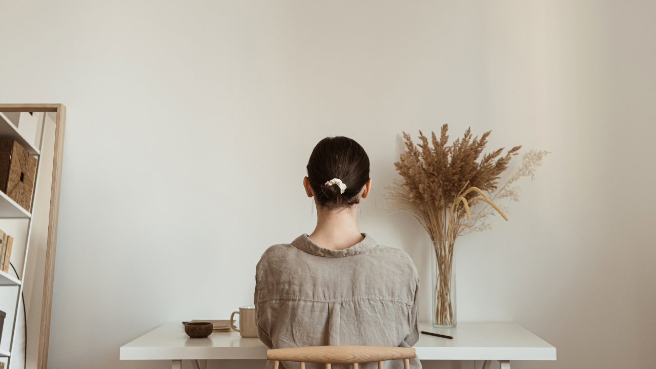 Minimalist woman simplifying life for happiness