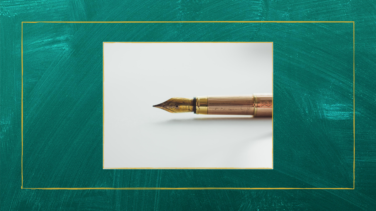 A gold pen, helpful for writing down important thoughts.