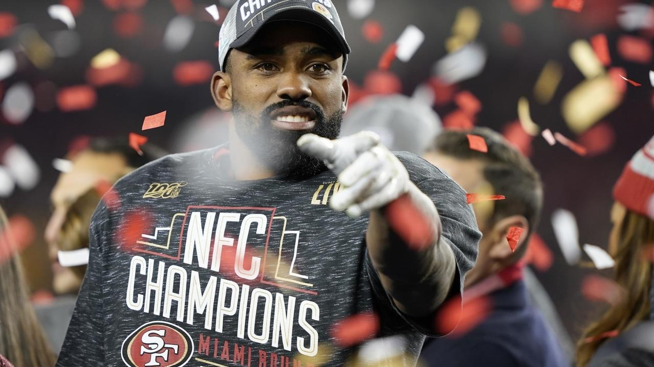 San Francisco 49ers running back Raheem Mostert celebrates after the NFC championship game against the Green Bay Packers. (AP Photo/Tony Avelar)