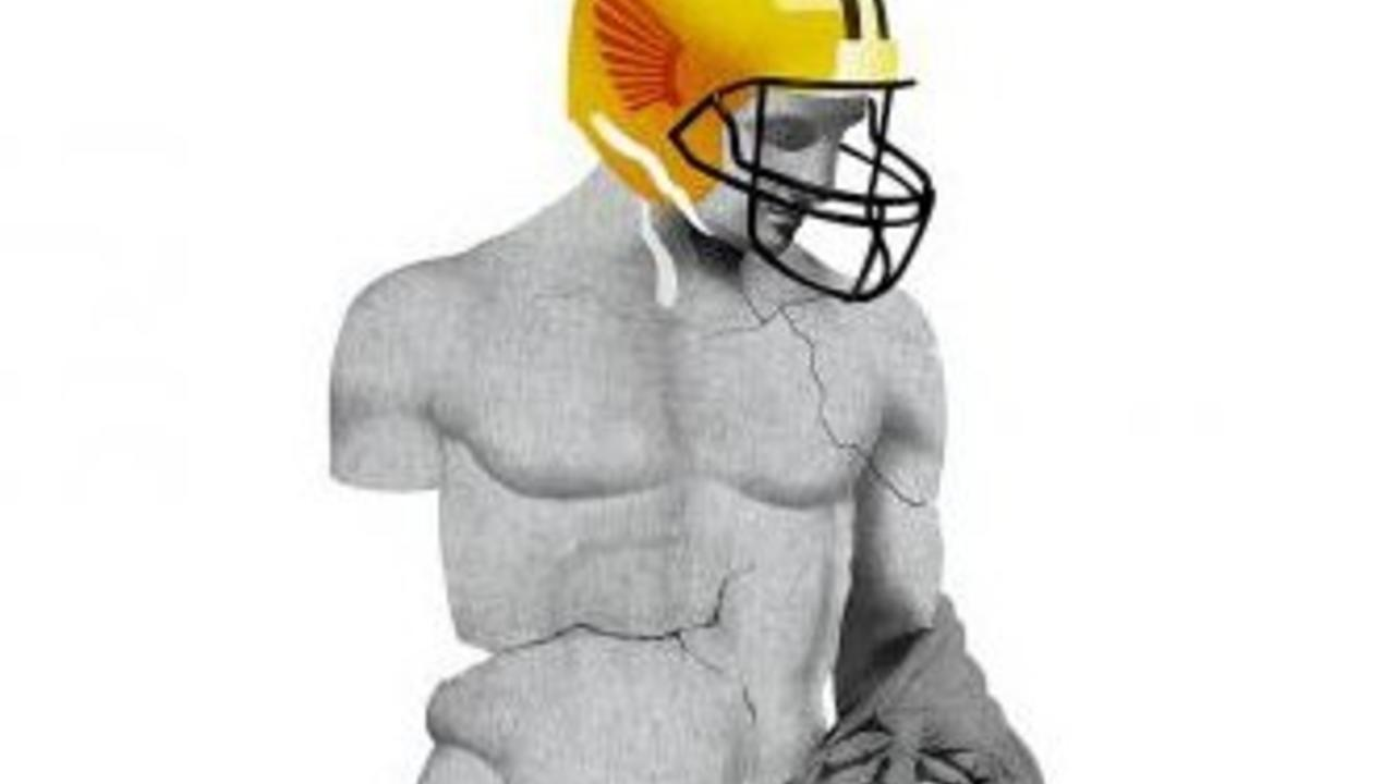 Ancient statue wearing a football helmet. Photo from 1843magazine.com