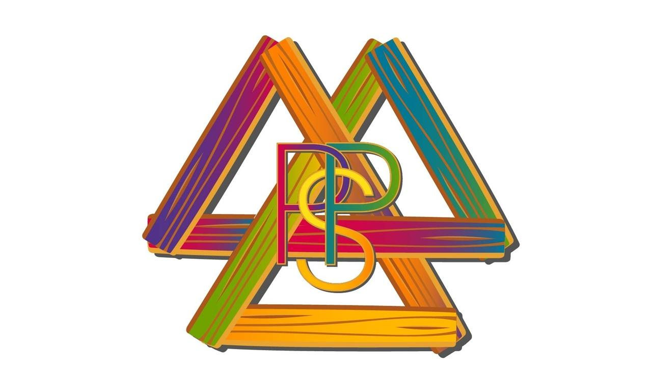 Painted Porch Strategies Logo. Three triangles made of wood interconnected with the letters
