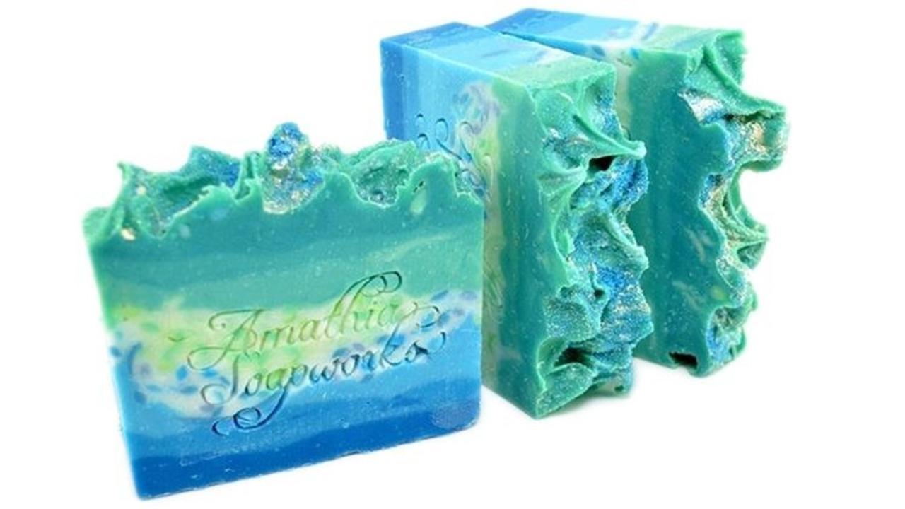 three bars of gradient soap