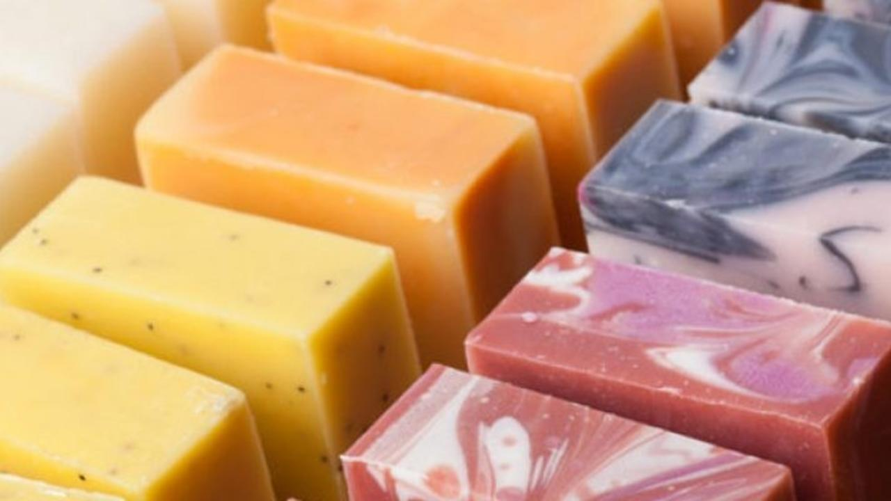 rows of brightly colored soaps