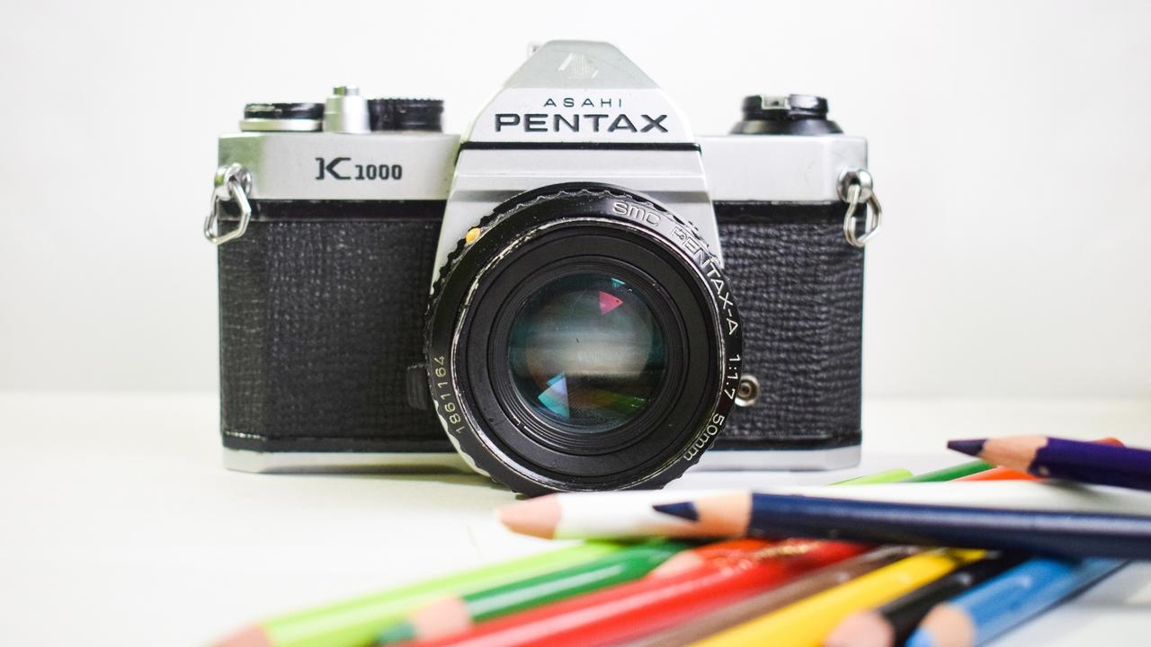 camera with colored pencils