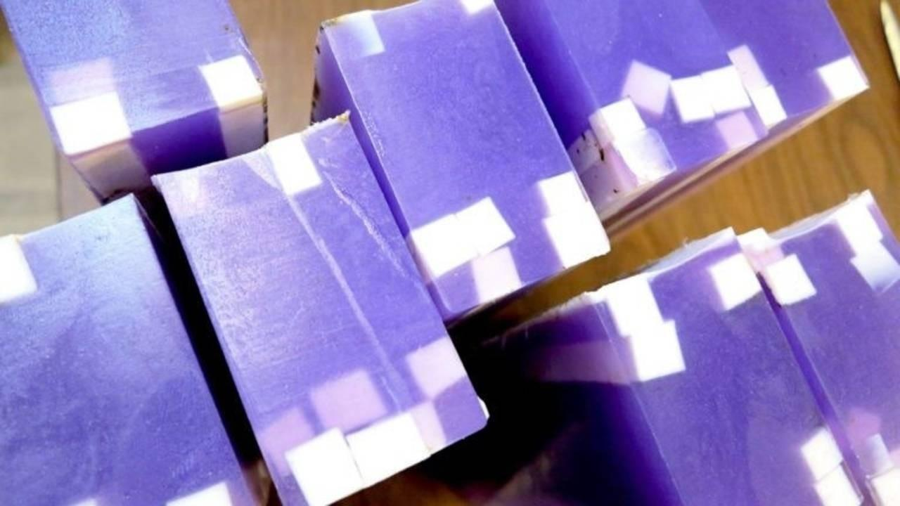 bars of lavender soap with white embedds