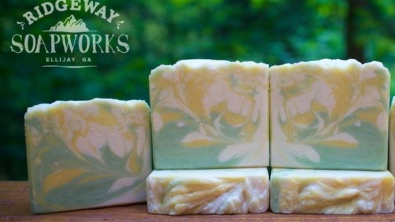 5 hot process swirled soap bars