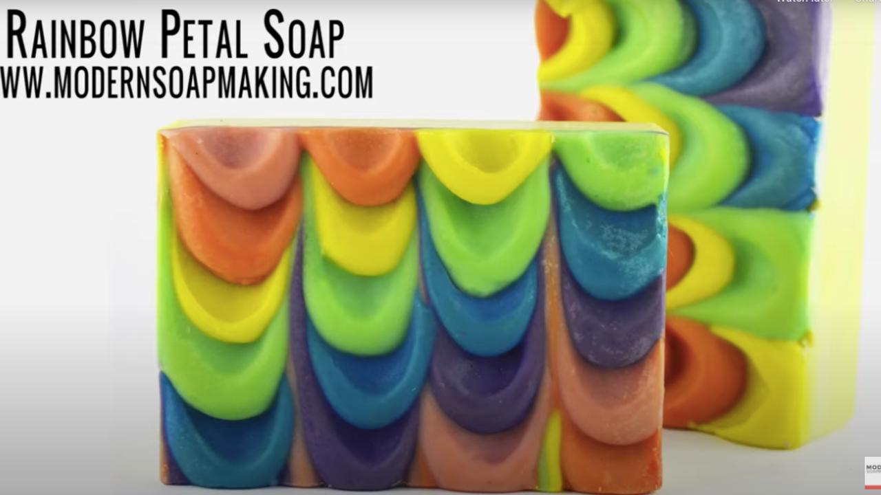 two bars of rainbow petal soap