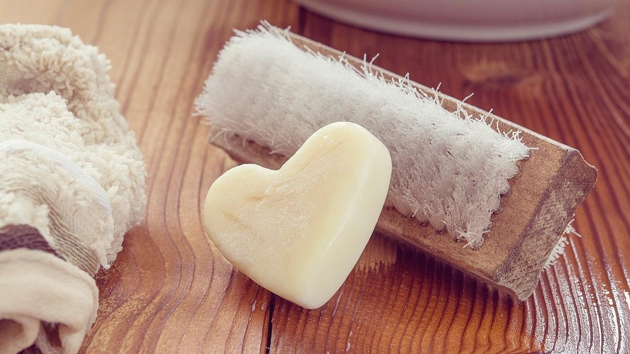 heart shaped soap with scrub brush