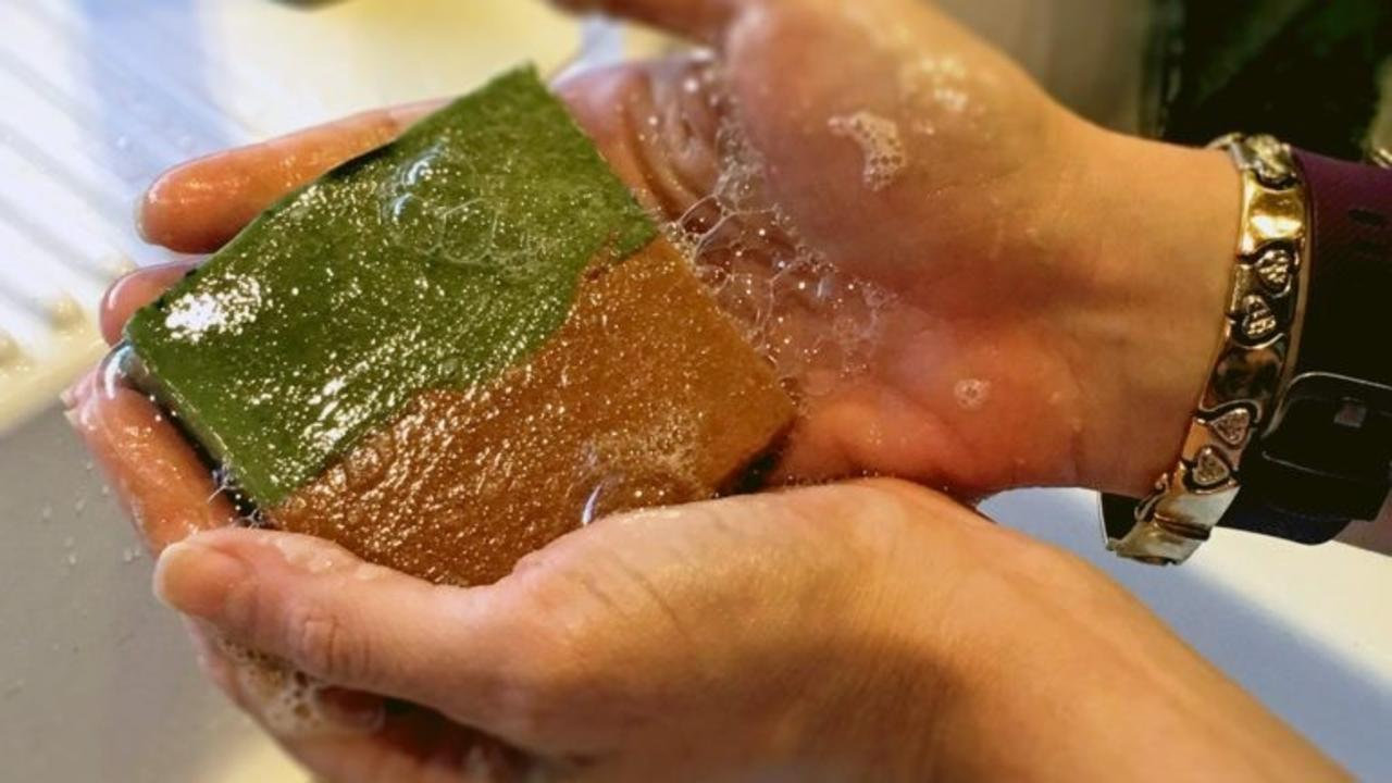 two hands lathering a bar of basil tomato soap