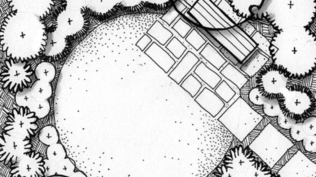 ink drawing showing ground textures