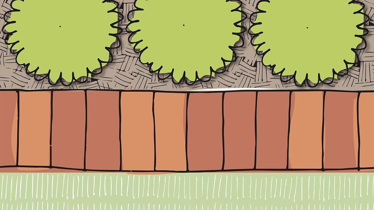 Brick edge in garden