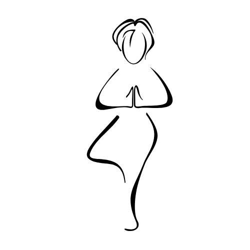 Outline of a whole person doing a static stretch health exercise