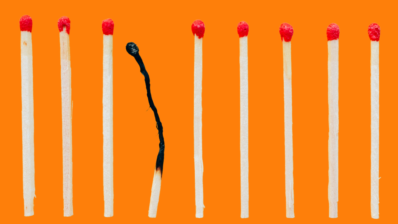 image of matches with one burnt out