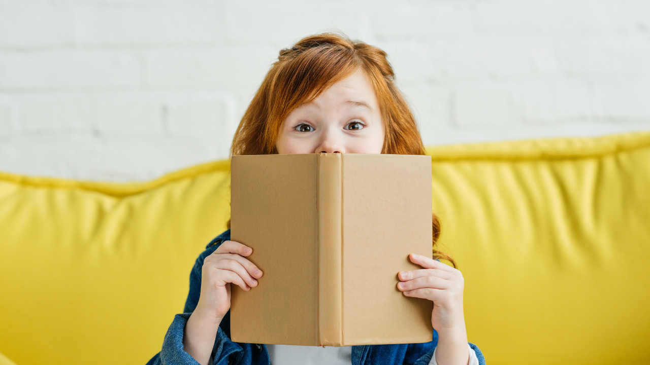 Dyslexia and literacy girl with book