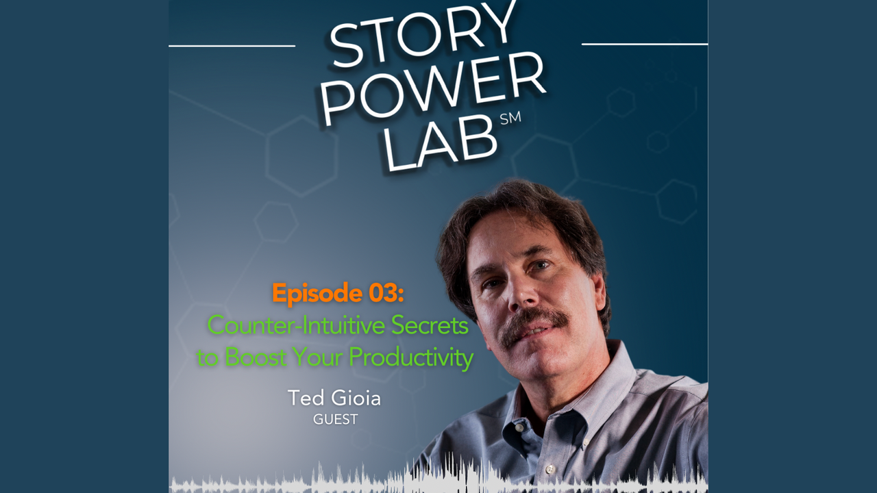 Photo of Ted Gioia on Story Power Lab Podcast with blue background