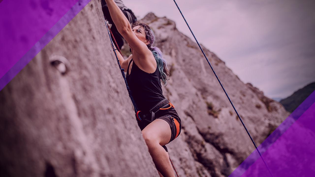 A woman climbing