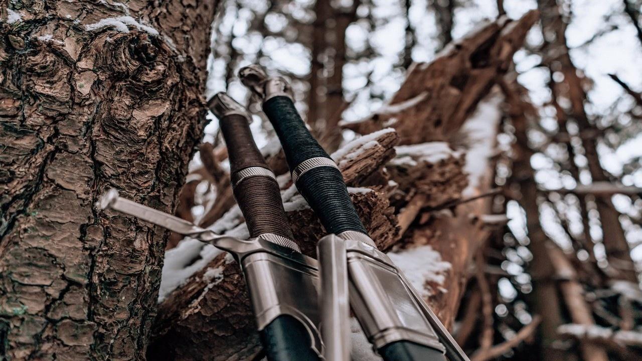 dos espadas contra un árbol