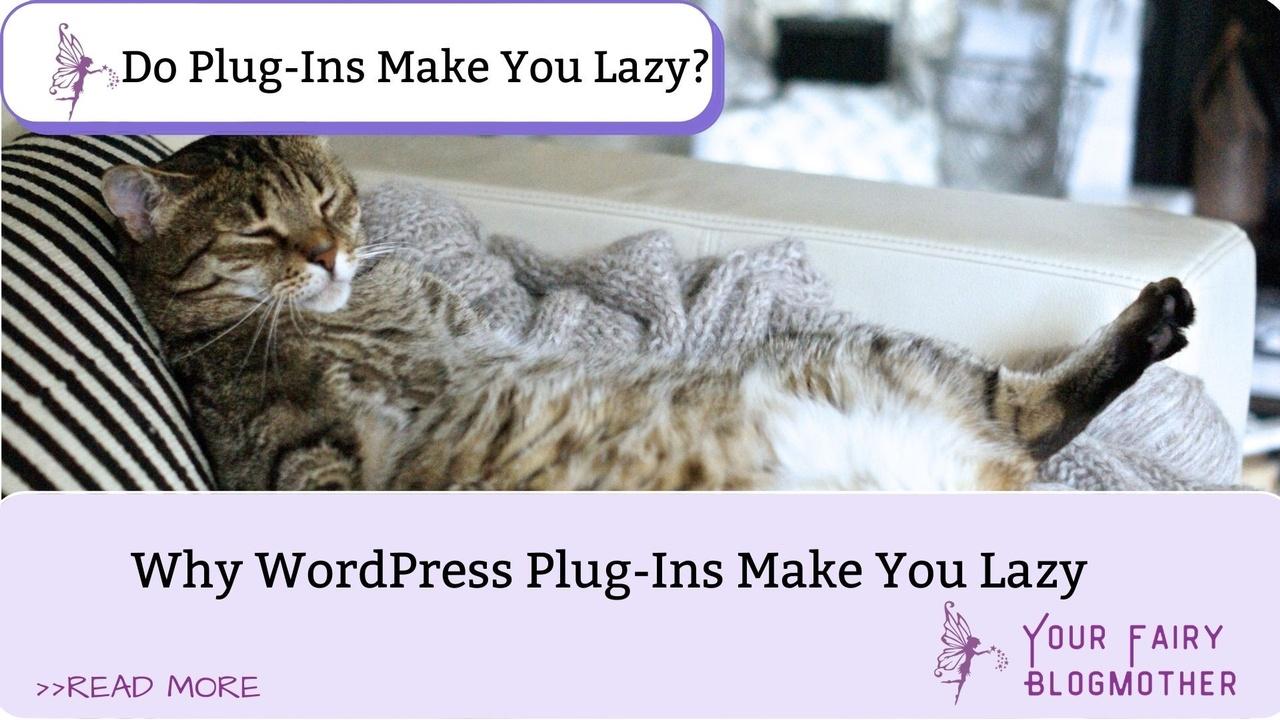 lazy grey cat on striped couch, why wordpress plug-ins make you lazy