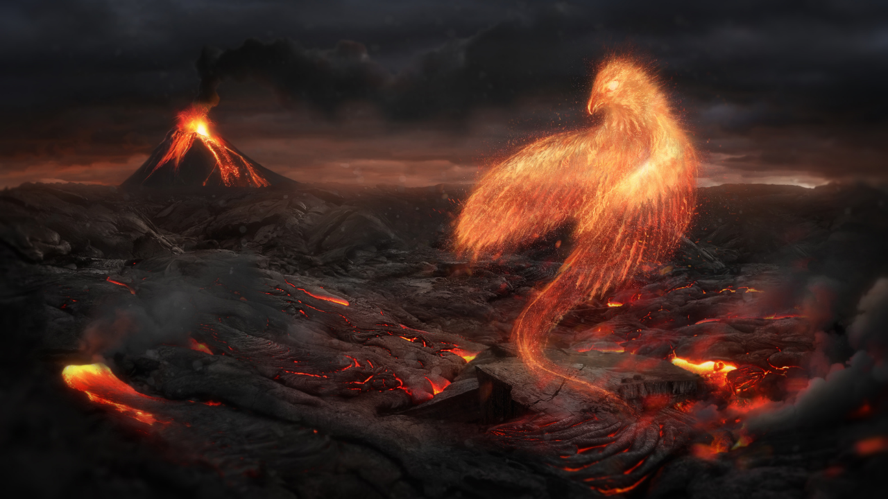 Phoenix bird sat in the burning embers with a volcano behind - phoenix rising from the ashes
